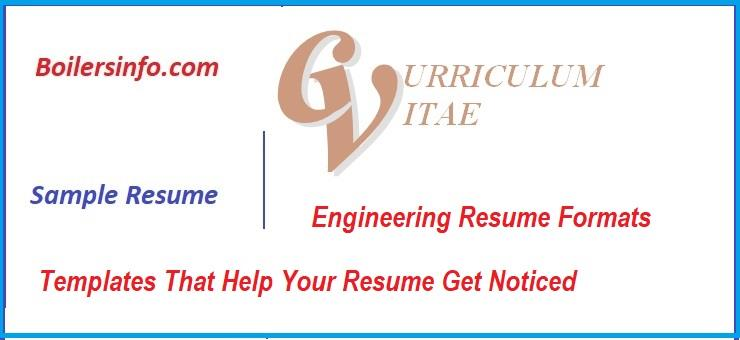 Engineering Resume Format - boiler engineer sample resume