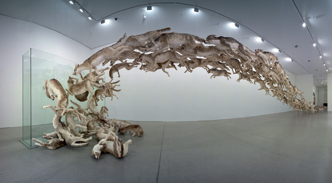 Cai Guo-Qiang: Head On (2006). Deutsche Guggenheim, Berlin, Germany. Photo by Hiro Ihara and Mathias Schormann