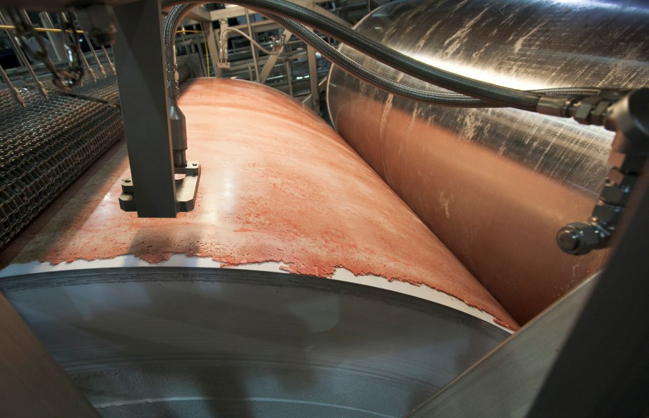The beef product known as pink slime or lean finely textured beef is frozen on large drums as part of the manufacturing process at the Beef Products Inc. plant in South Sioux City, Nebraska March 29, 2012.  [Reuters]
