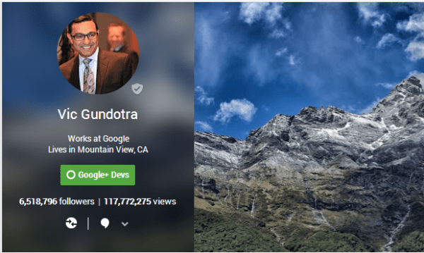 The Google+ profile of Vic Gundotra, who is head of the Google+ division at Google.