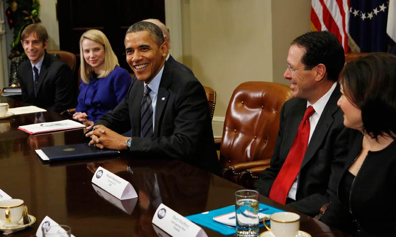 President Obama at meeting with executives from leading tech companies at the White House in Washington December 17, 2013. Pictured are (L-R): Zynga co-founder Mark Pincus, Yahoo CEO Marissa Mayer, Obama, AT&T Chairman and CEO Randall Stephenson and Facebook COO Sheryl Sandberg. Pictured are (L-R): Zynga co-founder Mark Pincus, Yahoo CEO Marissa Mayer, Obama, AT&T Chairman and CEO Randall Stephenson and Facebook COO Sheryl Sandberg.  Reuters/Kevin Lamarque.