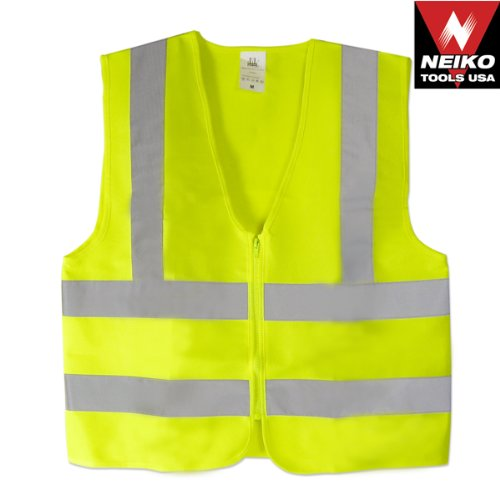 Neiko High Visibility Neon Yellow Zipper Front Safety Vest with Reflective Strips - Meets ANSI/ISEA Standards