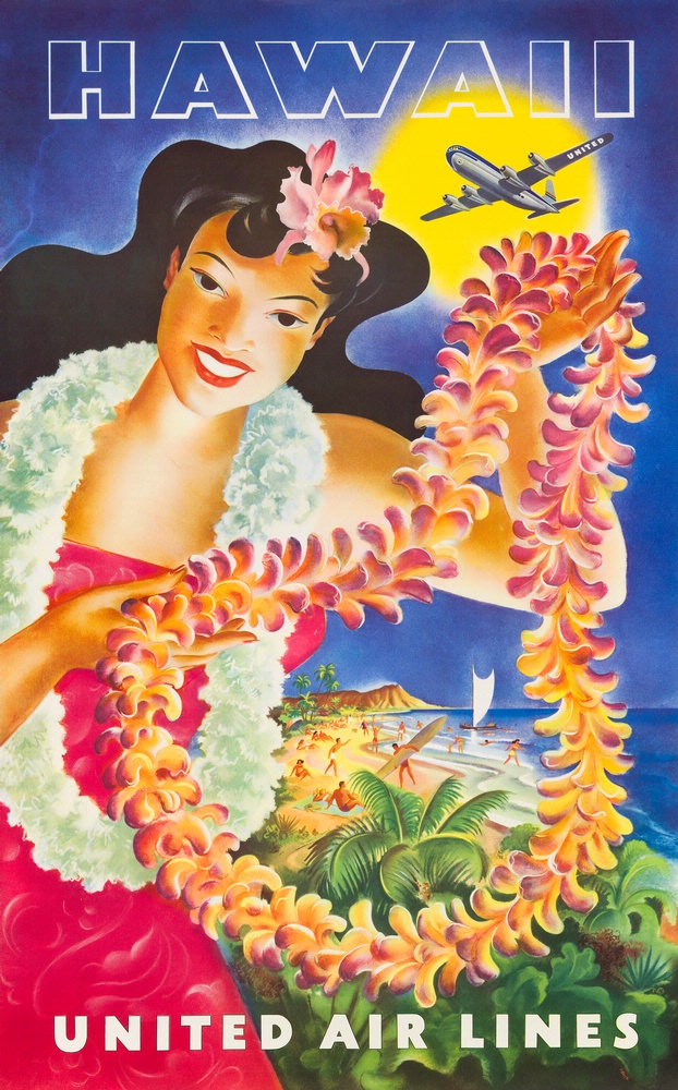 Hawiian woman holds a lei which frames a beach scene. A Boeing 377 Stratocruiser flies above scene and is backlit by the sun.