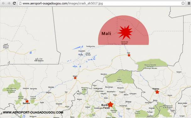 A screengrab of the homepage of the Ouagadougou airport's Internet site (http://www.aeroport-ouagadougou.com) shows a map displaying AH5017's last contact zone, July 24, 2014.