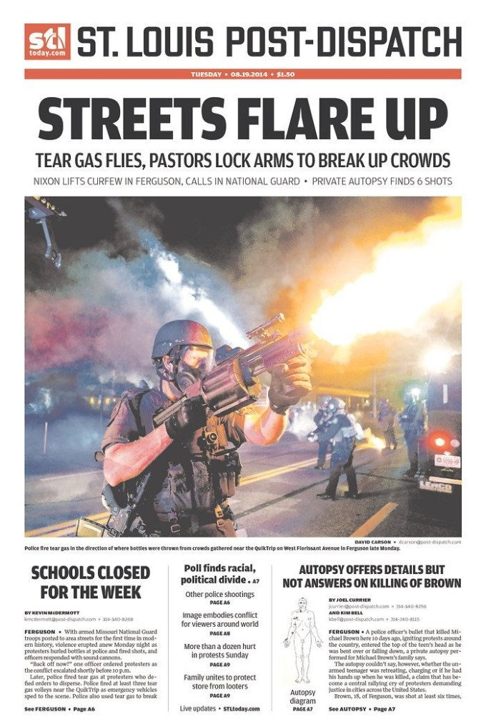 holy crap the front page of the st louis post dispatch looks like a scene from robocop boing. Black Bedroom Furniture Sets. Home Design Ideas