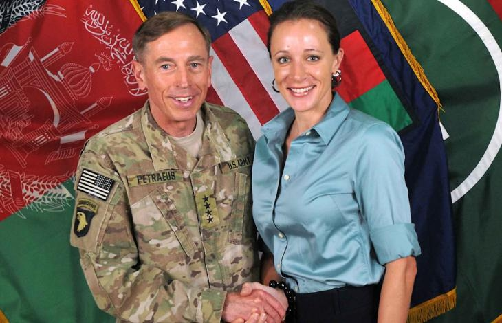 General David Petraeus with his lover, Paula Broadwell, to whom the former CIA chief leaked secret material that would likely have landed a civilian in prison for life.