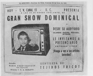 The first ad for an early episode of the show  that would later become Sabado Gigante.