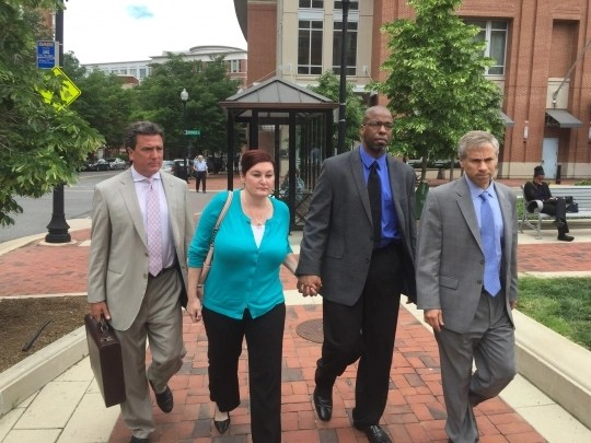 Jeffrey Sterling, third from left, with attorneys in Alexandria, VA. Photo: The Intercept.