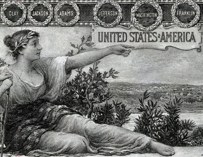Detail from the obverse of the United States $1 silver certificate, issued in 1896. (Photo: National Numismatic Collection at the Smithsonian Institution on Wikipedia)