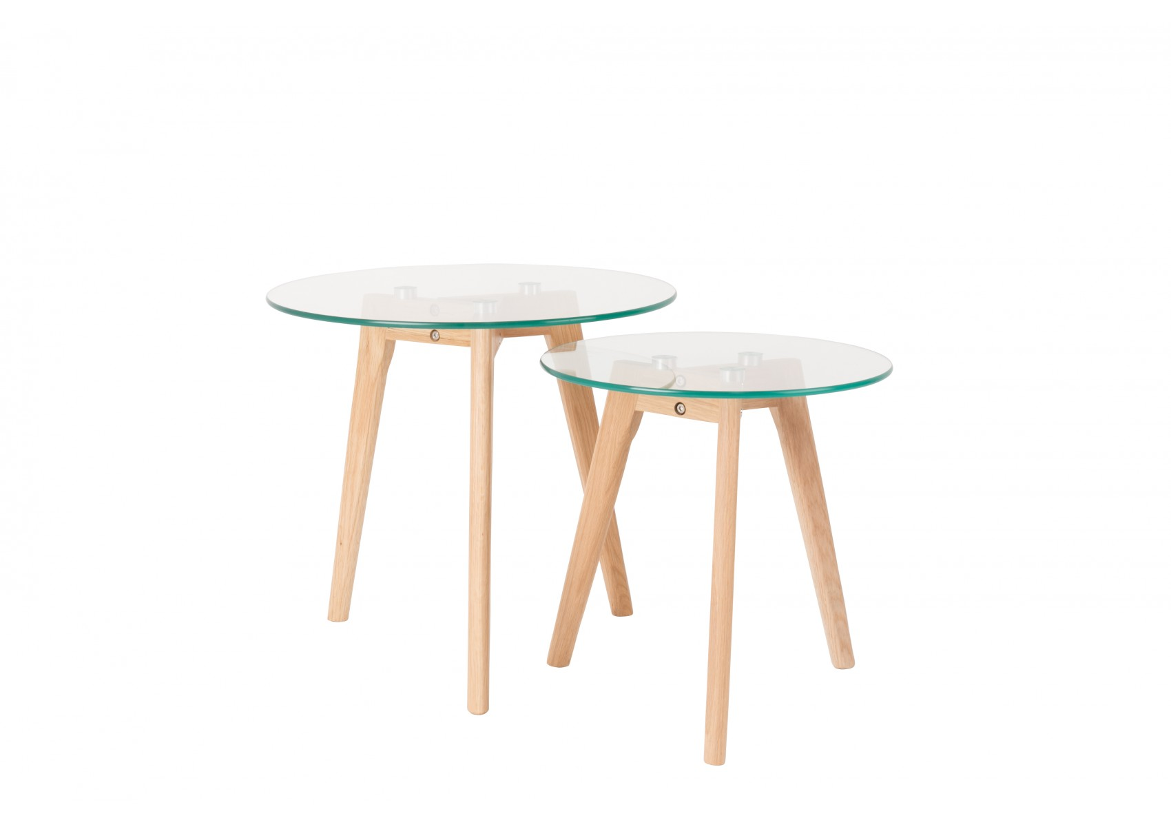 Table En Verre Scandinave Tables Basses Scandinave Bror En Verre Et Chêne Massif Set De 2