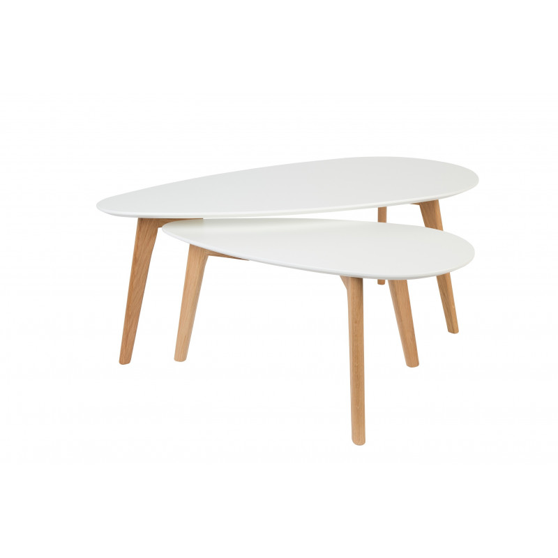 Tables Gigognes Blanches Tables Basse Scandinave Drop Laquée Blanche