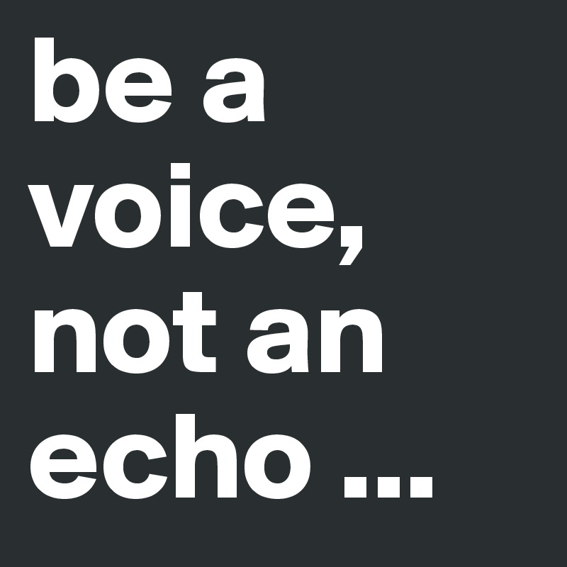 Echo Voice Be A Voice Not An Echo Post By Schoenerlesen On