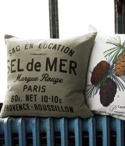 Puder fra H&M Home (hm.com) skøn fransk Vintagepude og en sjov pude med grankogler. priser fra 129 kr.
