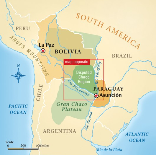 "THE CHACO WAR, 1932-1935:  Bolivia started the Chaco War to gain access via the Rio Paraguay to the Atlantic Ocean.  To do that it's army had to wrest the sparsely populated 100,000-square-mile Gran Chaco from Paraguay.  (Map By Baker Vail, www.bakervail.com)  This map appeared in ""Battle in the Barrens"" from the Summer 2009 issue of Military History Quarterly."