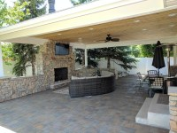 Ogden Covered Patio with Fireplace and TV Makes Backyard ...