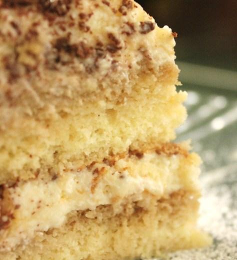 A slice of tiramisu cake - soft, melting and moist