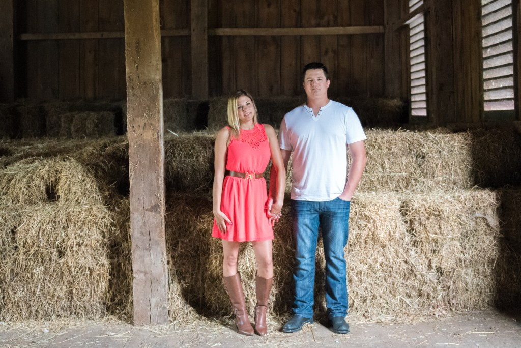 Engagement shoot in barn at Round HIll Park