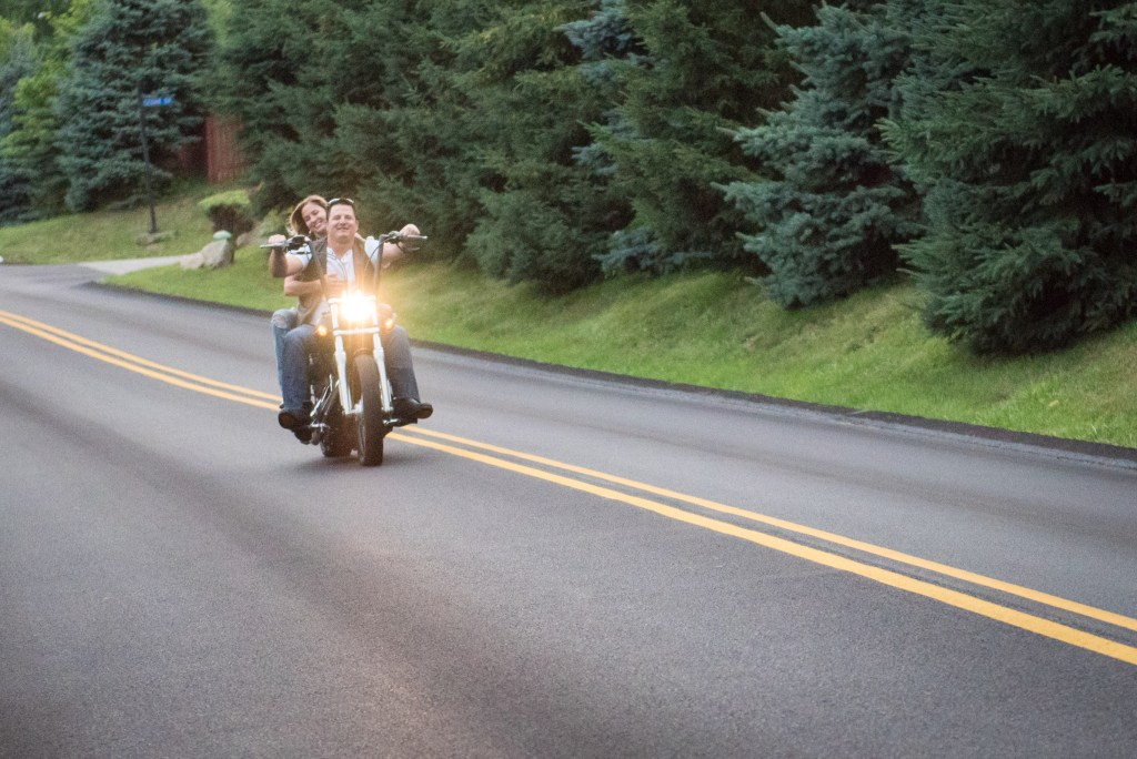 Harley Davidson Motorcycle engagement picture in action