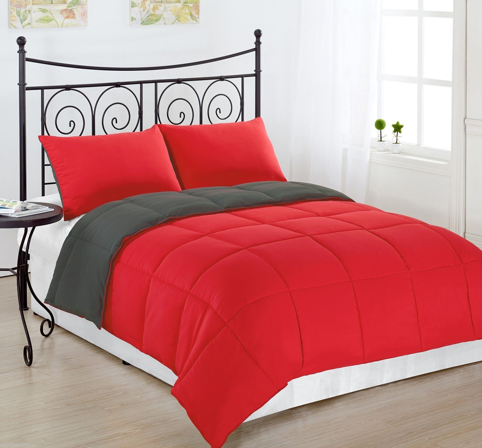 Charcoal Grey Bedding Red Charcoal Grey King Size Bed 3pc Reversible Down