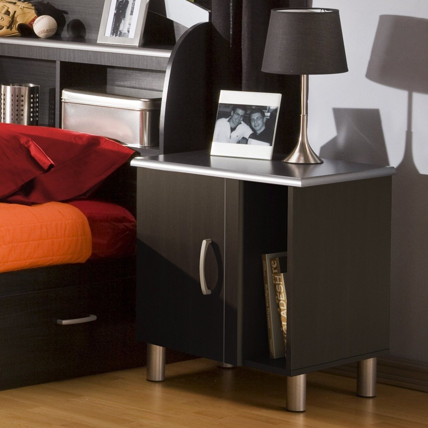 Modern Bed Stand Bedroom Night Stand Modern Style Black Charcoal Storage