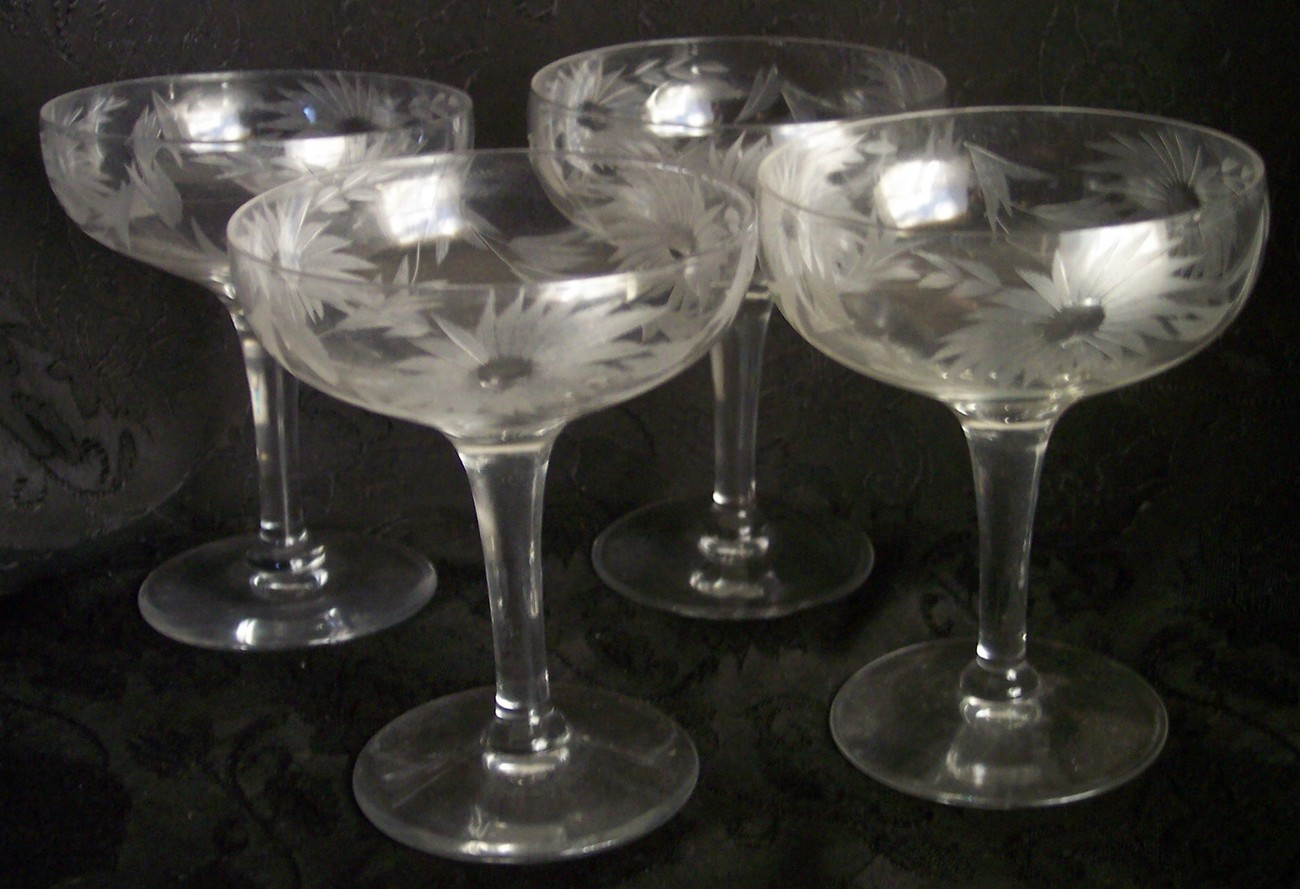 Crystal Stemware Wine Glasses Fostoria Cut Crystal Glass Champagne Wine Glasses Floral