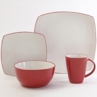 Red And White Classic Square Holiday 16 Piece Dinnerware ...