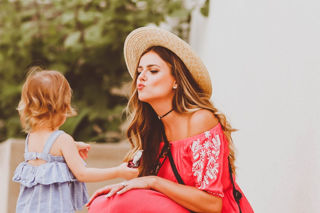 mom and toddler, summer outfit, coral off-the-shoulder maxi dress, straw boater hat, chloe hudson crossbody bag, wedge sandals, moon and star choker, cool mom
