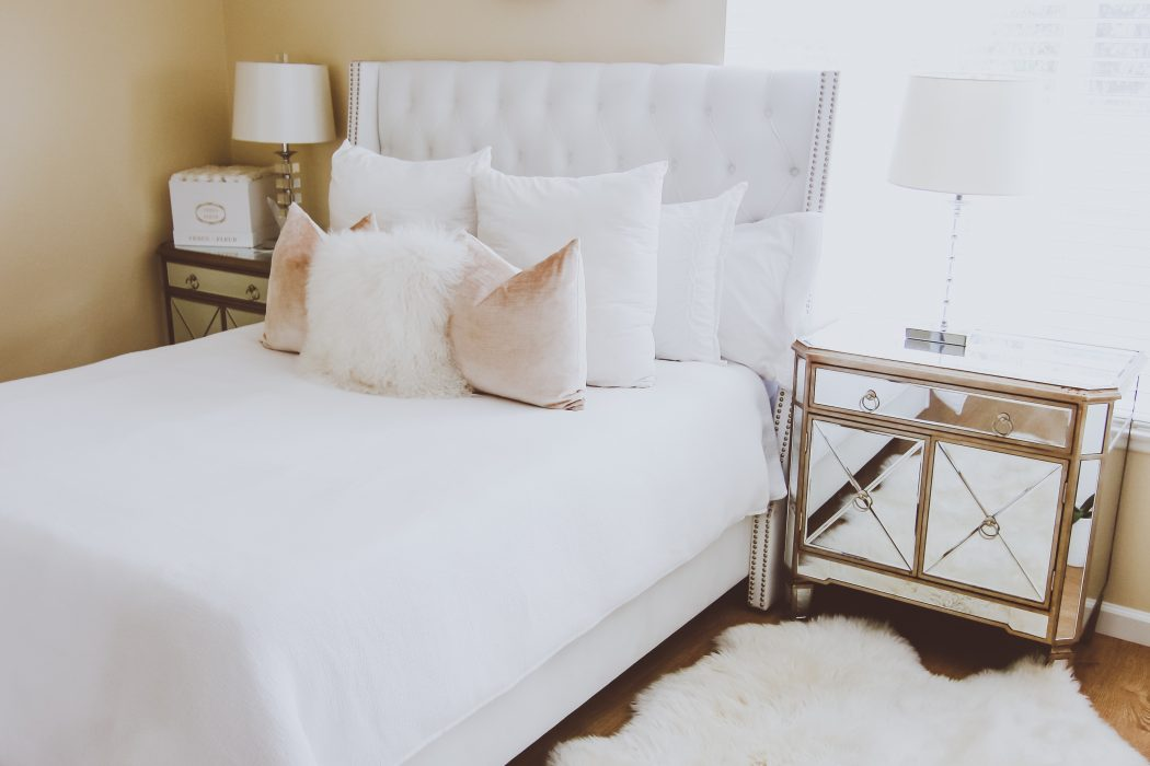 White Toddler Bed Glam White Velvet & Fur Master Bedroom | Bondgirlglam.com