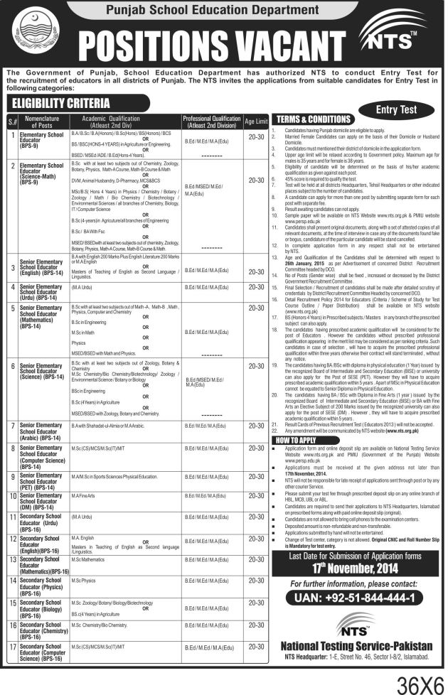 Entry Test for the Recruitment of Educators 2014 Jobs in Pakistan