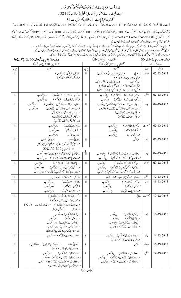 Gujranwala (Grw) Board 10th / 9th Annual Exam Date Sheet