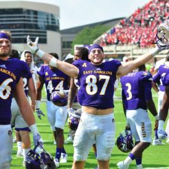Sophomore tight end Beau Huffman takes it all in in front of ECU's student section after Saturday's win. (WA Myatt photo)
