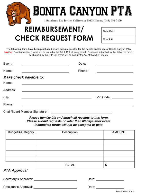 Check Request » Bonita Canyon PTA - funding request form