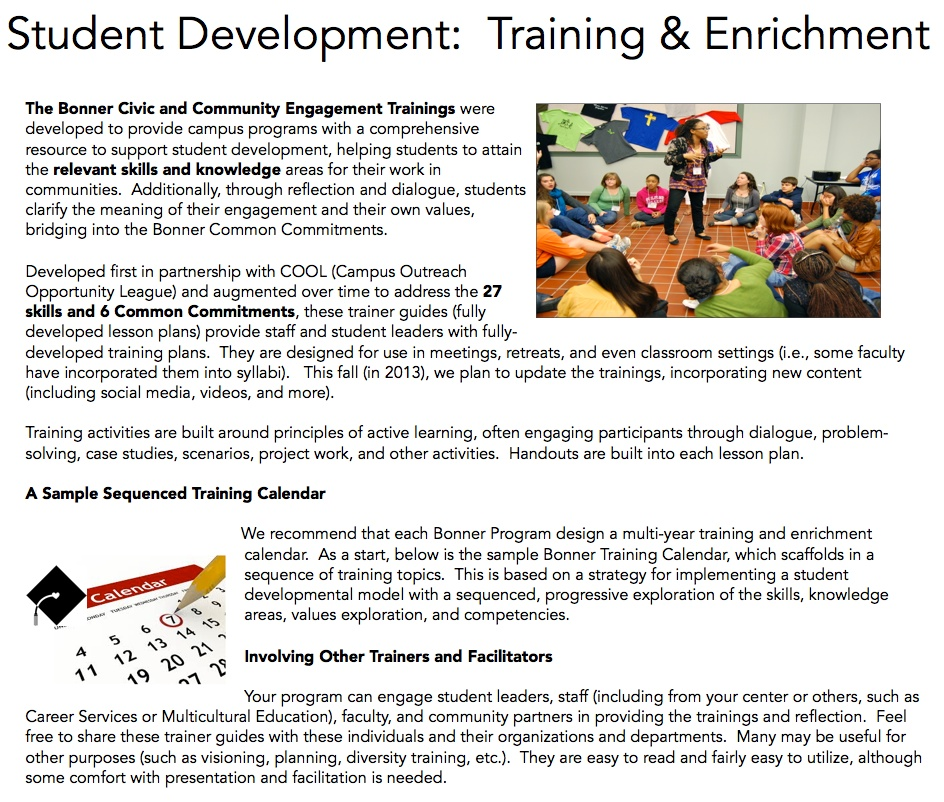 The Bonner Network Wiki \/ Training and Enrichment Resources - sample training calendar