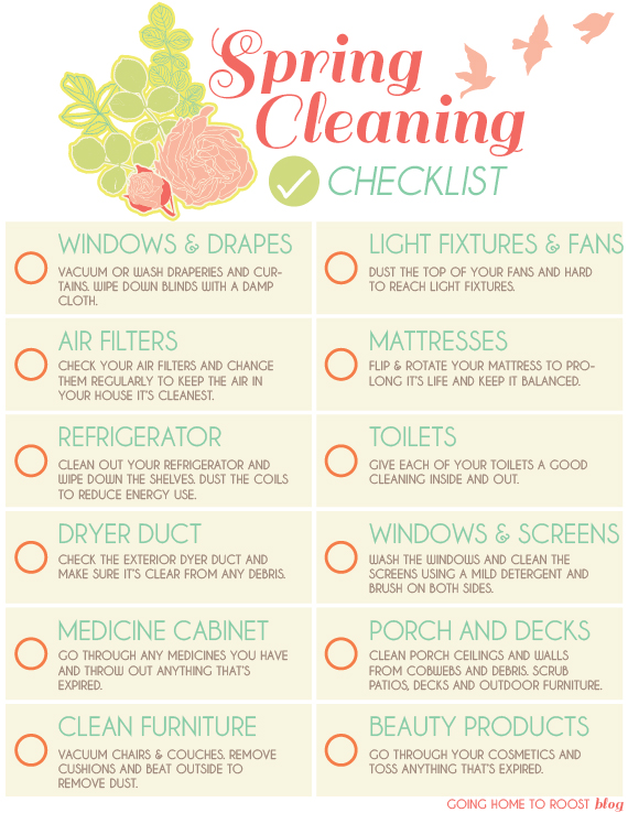 spring cleaning printable checklist  going home to roost