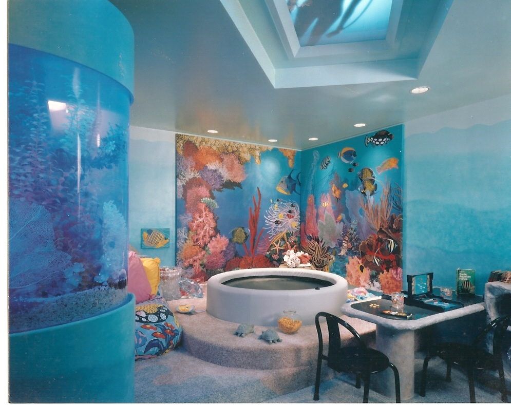 Wallpaper For Teenage Girl Room Aquarium Mural For Home Entertainment Room In Sands Point