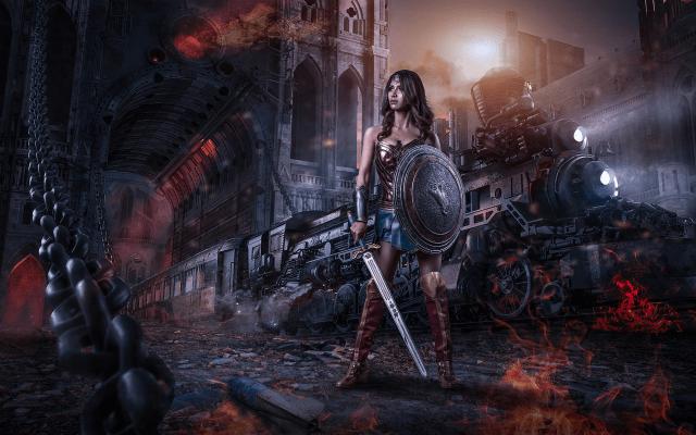 Anime Steampunk Girl Wallpaper Wallpapers Warrior Sword Shield Night Train Art