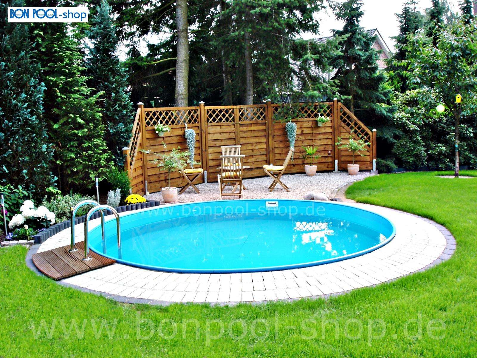 Pool Garten Tiefe Rundbecken Set Ø 300 Tiefe 120 Poolpaket Bon Pool