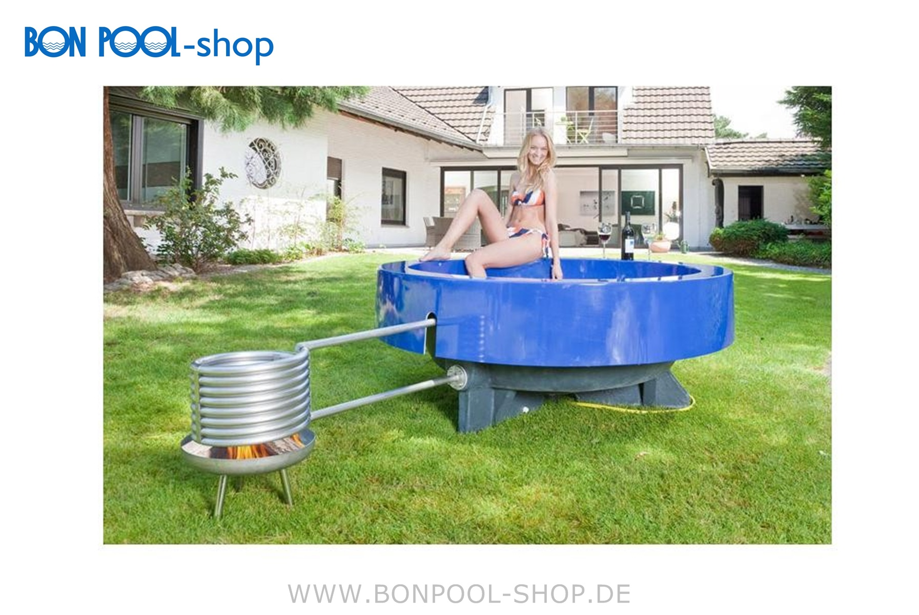 Poolheizung Mit Feuer Hot Tub 2 Blau Outdoor Pool Bon Pool