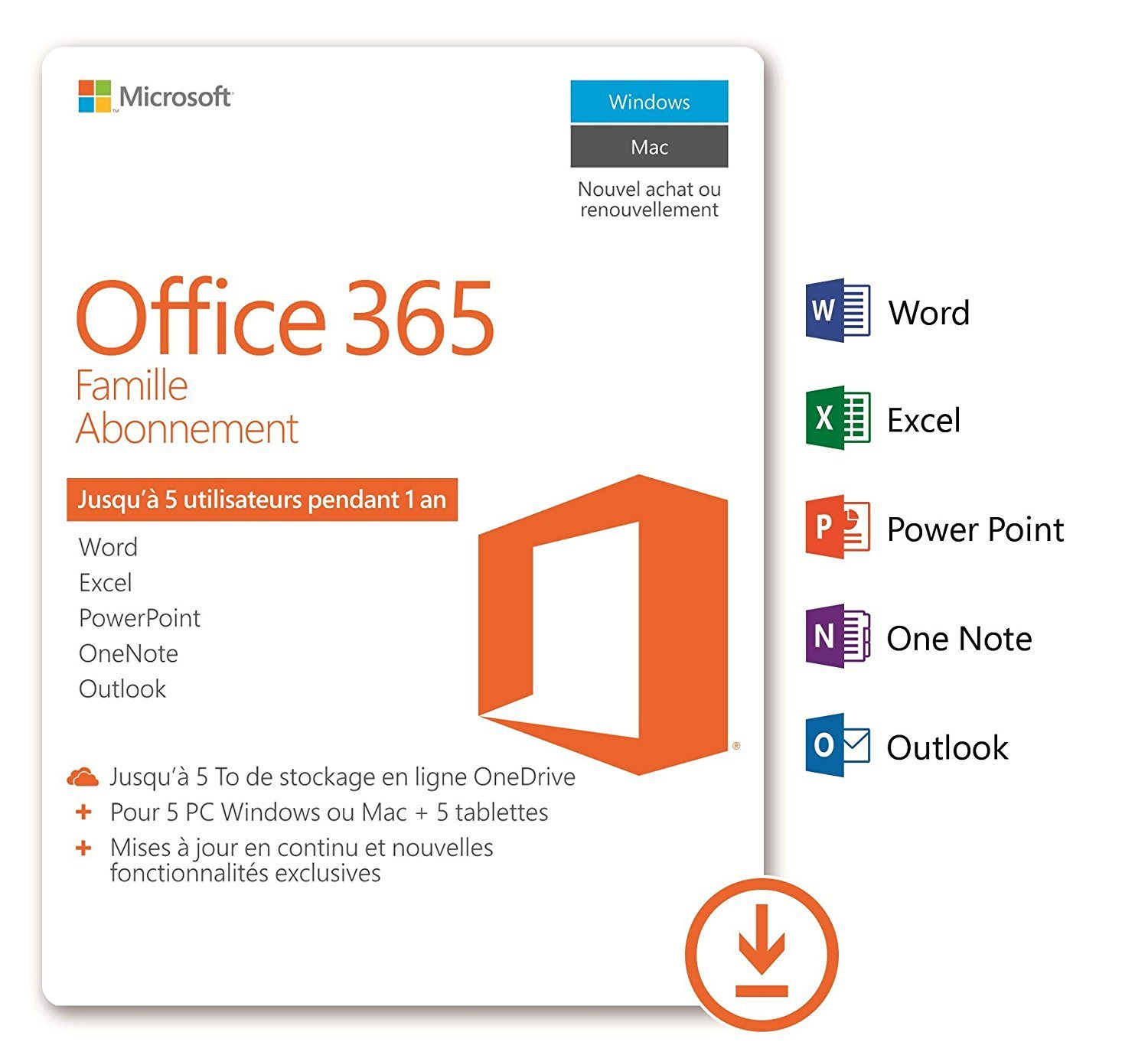 Microsoft Office Pour Tablette Office 365 Famille 5 Pc Windows Mac 43 5 Tablettes