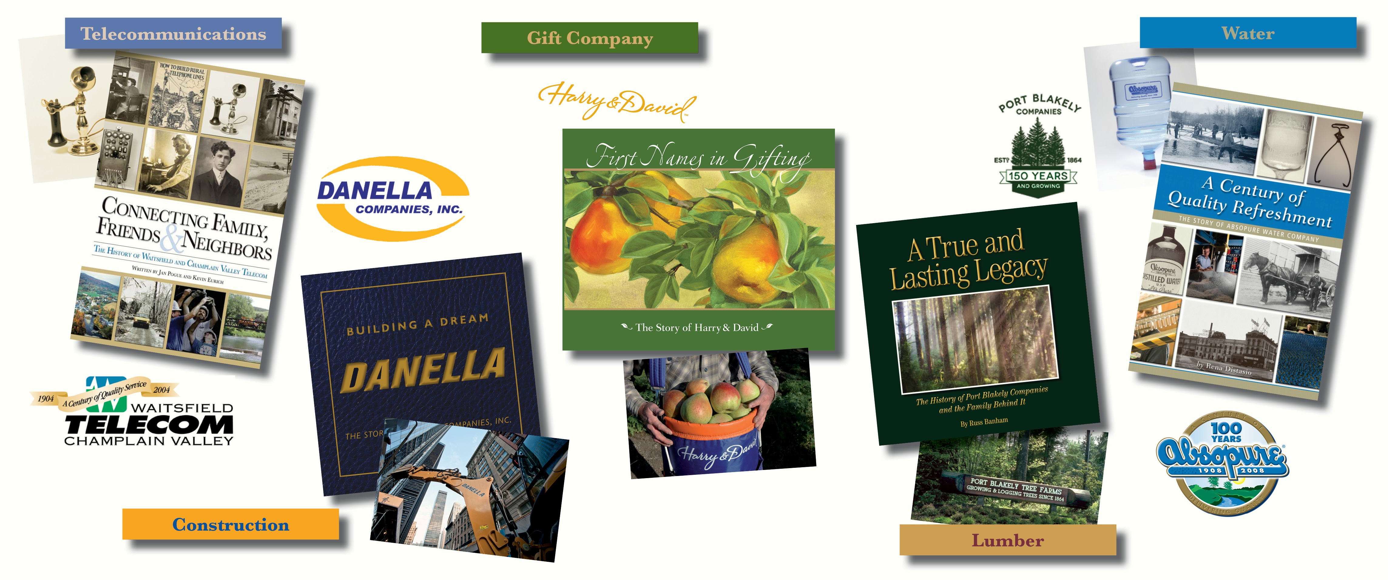 Whether your business specializes in telecommunications, construction, lumber, water or even gifts, let Bookhouse Group, Inc. create a commemorative book for you.