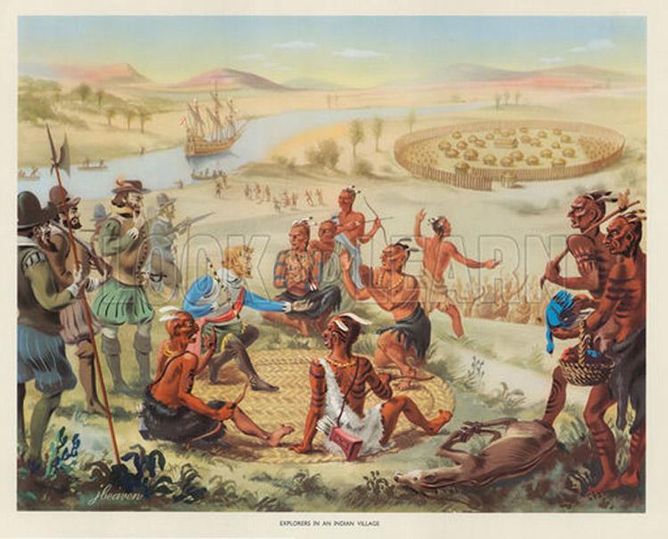3d Mural Wallpaper India Explorers In An Indian Village Original Macmillan Poster