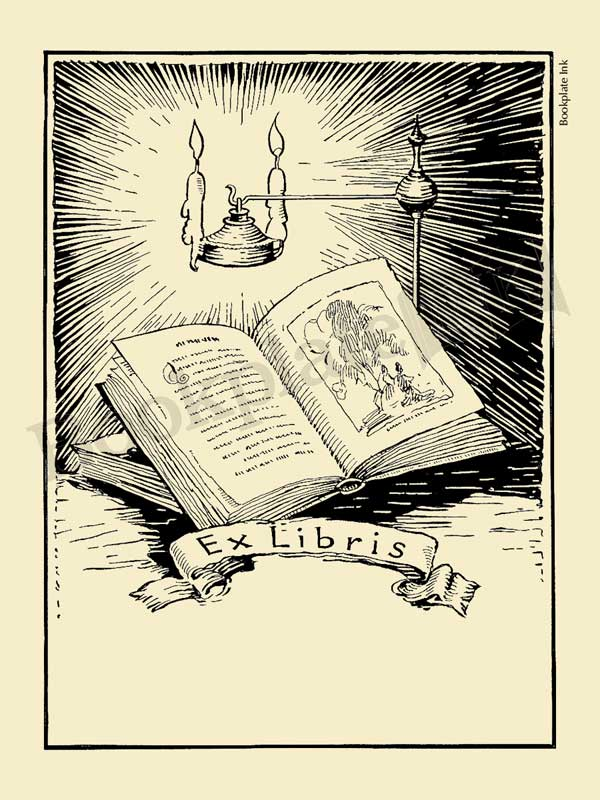 A106 - Bookplate with open book, candles and ex libris wording