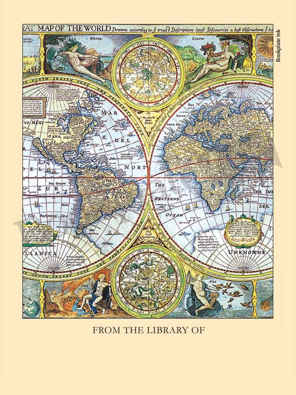 B116 - Map of the World bookplate - Bookplate Ink