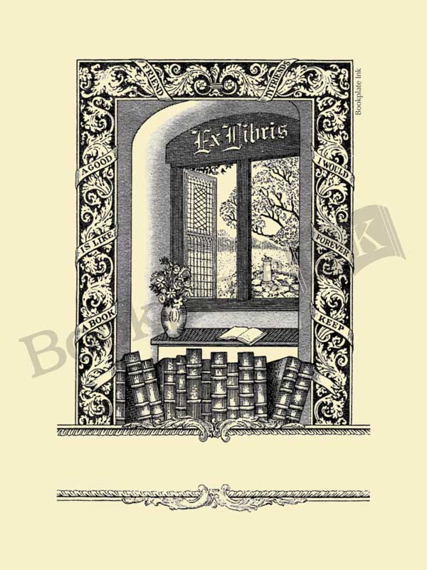 B253 - Books by open window with ex libris text bookplate
