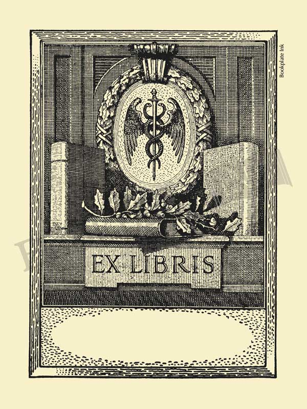 D11 - Medical bookplate with caduceus - Bookplate Ink