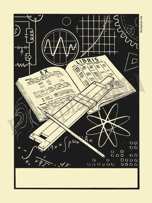 M614 - Mathematical slide rule bookplate - Bookplate Ink