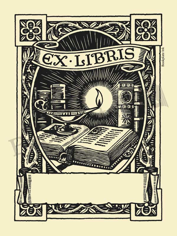 M777 - Owen Wise oil lamp on book bookplate - Bookplate Ink