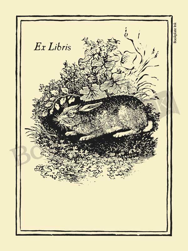 V1 - Thomas Bewick rabbit bookplate - Bookplate Ink