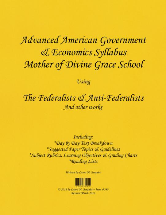 Advanced American Government  Economics Syllabus