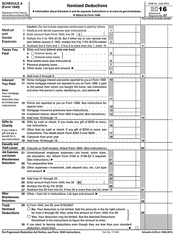 Itemized Deductions, 2016 IRS Tax Form 1040, Schedule A (Package of - Schedule A Form